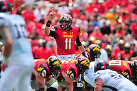 QB Perry Hills of the Terrapins class a play. Maryland defeated Richmond 50-21 during home season opener at the Byrd Stadium in College Park, MD on Saturday, September 5, 2015.  Alan P. Santos/DC Sports Box