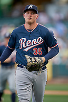 Kevin Cron (35) of the Reno Aces during the game against the Salt Lake Bees at Smith's Ballpark on June 27, 2019 in Salt Lake City, Utah. The Aces defeated the Bees 10-6. (Stephen Smith/Four Seam Images)