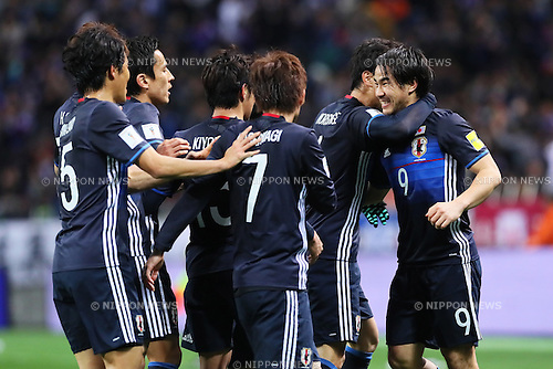 Shinji Okazaki (JPN) celebrates Japan's first goal<br /> MARCH 24, 2016 - Football / Soccer : FIFA World Cup Russia 2018 Asian Qualifier Second Round Group E match between Japan 5-0 Afghanistan at Saitama Stadium 2002 in Saitama, Japan. (Photo by Yohei Osada/AFLO SPORT)