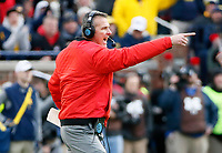 Ohio State Buckeyes head coach Urban Meyer yells at his team against Michigan Wolverines during the 2nd half of their game at Michigan Stadium on November 25, 2017.  [Kyle Robertson\ Dispatch]