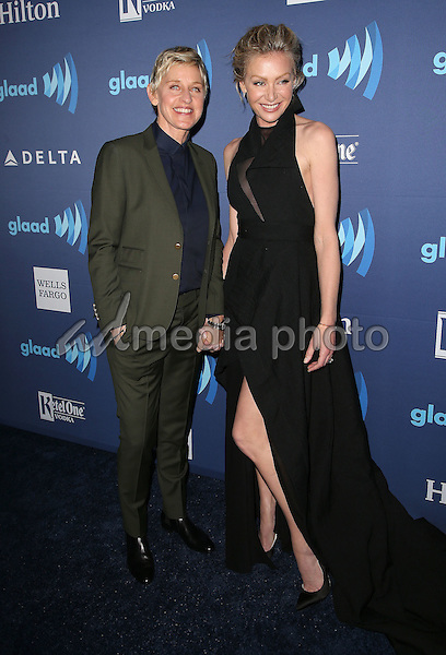 21 March 2015 - Beverly Hills, California - Ellen DeGeneres, Portia De Rossi. 26th Annual GLAAD Media Awards held at The Beverly Hilton Hotel. Photo Credit: F. Sadou/AdMedia