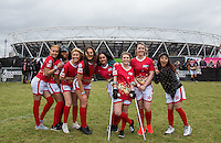The Red team pose (l-r) Liaa Gamito (PYT) & Naomi Labelle (PYT), ELLIE YOUNG(IBIZA WEEKENDER), AMELIA BATH (IBIZA WEEKENDER), Natasha Olrog (PYT), Fan Player, Robyn Regan & Tonia Gigli (PYT) during the SOCCER SIX Celebrity Football Event at the Queen Elizabeth Olympic Park, London, England on 26 March 2016. Photo by Andy Rowland.
