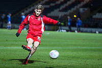 Conor McAleny warms up before the Sky Bet League 1 match between Rochdale and Fleetwood Town at Spotland Stadium, Rochdale, England on 20 March 2018. Photo by Thomas Gadd.
