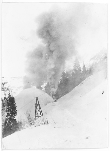 RGS rotary near Matterhorn.  Train is from Trout Lake.<br /> RGS  Matterhorn, CO  Taken by Maxwell, John W.