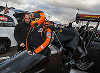 Feb 22, 2019; Chandler, AZ, USA; NHRA top fuel driver Mike Salinas during qualifying for the Arizona Nationals at Wild Horse Pass Motorsports Park. Mandatory Credit: Mark J. Rebilas-USA TODAY Sports
