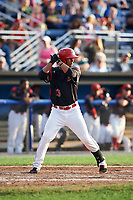 Batavia Muckdogs left fielder Jhonny Santos (13) at bat during a game against the Tri-City ValleyCats on July 14, 2017 at Dwyer Stadium in Batavia, New York.  Batavia defeated Tri-City 8-4.  (Mike Janes/Four Seam Images)