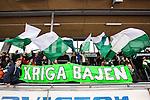 Stockholm 2014-03-01 Bandy SM-semifinal 1 Hammarby IF - V&auml;ster&aring;s SK :  <br /> Hammarby supportrar med flaggor och en banderoll med texten Kriga Bajen<br /> (Foto: Kenta J&ouml;nsson) Nyckelord:  VSK Bajen HIF supporter fans publik supporters
