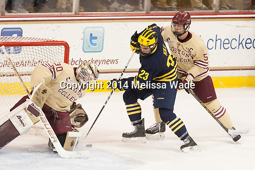 Thatcher Demko (BC - 30), Alex Kile (Michigan - 23), Michael Matheson (BC - 5) - The Boston College Eagles defeated the visiting University of Michigan Wolverines 5-1 (EN) on Saturday, December 13, 2014, at Kelley Rink in Conte Forum in Chestnut Hill, Massachusetts.