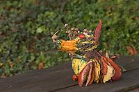 Tierfigur aus Früchten und Blättern, Bastelei aus Kürbis, Blättern, Kastanien, Hagebutten und anderen Naturmaterialien, Bastelarbeit, Naturkunst