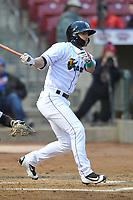 Cedar Rapids Kernels designated hitter Mark Contreras (1) swings at a pitch against the Clinton LumberKings at Veterans Memorial Stadium on April 13, 2018 in Cedar Rapids, Iowa. Clinton won 2-0.  (Dennis Hubbard/Four Seam Images)