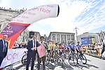 Sandro Pappalardo, The Head of Tourism, Sport and Entertainment of the Sicilian Region and the Mayor of Catania ready to start Stage 1 of Il Giro di Sicilia running 165km from Catania to Milazzo, Italy. 3rd April 2019.<br /> Picture: LaPresse/Fabio Ferrari | Cyclefile<br /> <br /> <br /> All photos usage must carry mandatory copyright credit (© Cyclefile | LaPresse/Fabio Ferrari)