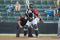 Kannapolis Intimidators catcher Michael Hickman (16) on defense against the Lexington Legends at Kannapolis Intimidators Stadium on August 4, 2019 in Kannapolis, North Carolina. The Legends defeated the Intimidators 5-1. (Brian Westerholt/Four Seam Images)