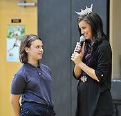 Miss Wisconsin Laura Kaeppeler took questions from the students during her visit to Blessed Sacrament School on Thursday, Oct. 6, 2011, including one from sixth grader Rachael Kappel. Ernie Mastroianni photo.