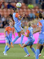 Poliana Barbosa (2) of the Houston Dash heads the ball towards the Chicago Red Stars goal in the first half on Saturday, April 16, 2016 at BBVA Compass Stadium in Houston Texas.