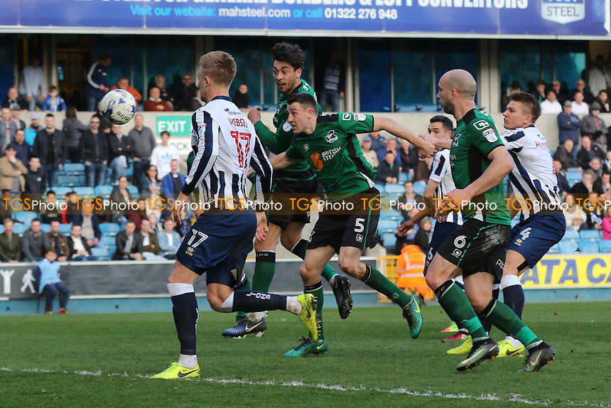 Matt Crooks scores Scunthorpe's opening goal with a fine header during Millwall vs Scunthorpe United, Sky Bet EFL League 1 Football at The Den on 1st April 2017