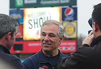 New Boston Red Sox manager Bobby Valentine talks with reporters on January 23, 2012, at Fluor Field at the West End in Greenville, South Carolina. Valentine was in town to speak at the annual Greenville Drive Hot Stove Event. (Tom Priddy/Four Seam Images)