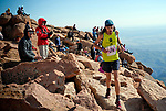 August 19, 2017 - Colorado Springs, Colorado, U.S. -  Durango, Colorado's, Tate Lagasca, is greeted by racing fans near the summit of the 62nd running of the Pikes Peak Ascent.  The Ascent is a full half-marathon gaining over 7800 feet in elevation to reach the summit at 14,115 feet.  Mountain runners from around the world converge on Pikes Peak for two days of racing on America's Mountain in Colorado Springs, Colorado.