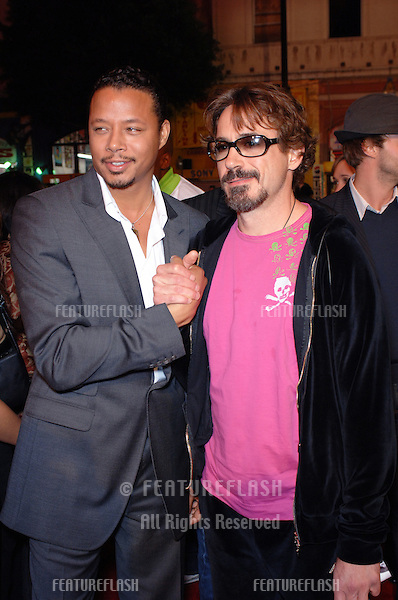 Actors TERRENCE HOWARD (left) & ROBERT DOWNEY JR. at the world premiere, in Hollywood, of Howard's new movie Get Rich or Die Tryin'..November 2, 2005  Los Angeles, CA..© 2005 Paul Smith / Featureflash