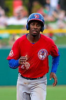 Buffalo Bisons second baseman Darnell Sweeney (29) runs to third base during an International League game against the Indianapolis Indians on July 28, 2018 at Victory Field in Indianapolis, Indiana. Indianapolis defeated Buffalo 6-4. (Brad Krause/Four Seam Images)
