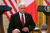 United States Vice President Mike Pence arrives prior to US President Donald J. Trump and President Sergio Mattarella of the Italian Republic conducting a joint press conference in the East Room of the White House in Washington, DC on Wednesday, October 16, 2019.<br /> Credit: Ron Sachs / CNP