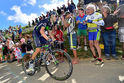 22.07.2014. Carcassonne to Bagnères-de-Luchon, France. Tour de France cycling championship, stage 16.   VALVERDE BELMONTE Alejandro (ESP - Movistar team) ascends the Port de Bales