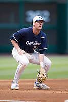 North Carolina Tar Heels third baseman Colin Moran #18 on defense during the NCAA baseball game against the Rice Owls on March 1st, 2013 at Minute Maid Park in Houston, Texas. North Carolina defeated Rice 2-1. (Andrew Woolley/Four Seam Images).
