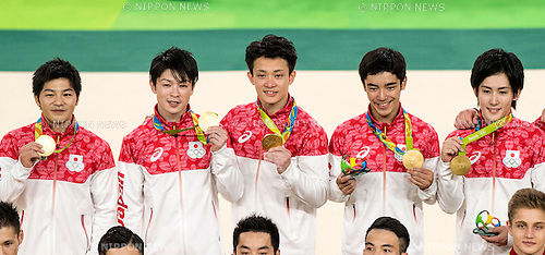 (L-R) Koji Yamamuro, Kohei Uchimura, Yusuke Tanaka, Kenzo Shirai, Ryohei Kato (JPN),<br /> AUGUST 8, 2016 - Artistic Gymnastics :<br /> Koji Yamamuro, Kohei Uchimura, Yusuke Tanaka, Kenzo Shirai and Ryohei Kato of Japan pose with their gold medals on the podium during the Men's Team Medal Ceremony at Rio Olympic Arena during the Rio 2016 Olympic Games in Rio de Janeiro, Brazil. (Photo by Enrico Calderoni/AFLO SPORT)