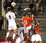 1 November 2006: Virginia's Adam Cristman (9) wins a header over Clemson's Frederico Moojen (11). Virginia defeated Clemson 2-0 at the Maryland Soccerplex in Germantown, Maryland in an Atlantic Coast Conference college soccer tournament quarterfinal game.