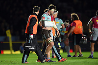 Jack Clifford of Harlequins is led from the field by physios after suffering an injury. Aviva Premiership match, between Harlequins and Sale Sharks on October 6, 2017 at the Twickenham Stoop in London, England. Photo by: Patrick Khachfe / JMP