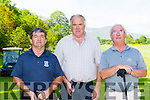 Seanie Kellihrr, Pat murphy and Barry Duggan enjoying a round at the Kerry Stars golf classic on Saturday  in Beaufort Golf Course