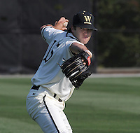 Pitcher Cash Collins (15) of the Wofford College Terriers in a game against the Appalachian State Mountaineers on April 28, 2012, at Russell C. King Field in Spartanburg, South Carolina. (Tom Priddy/Four Seam Images)