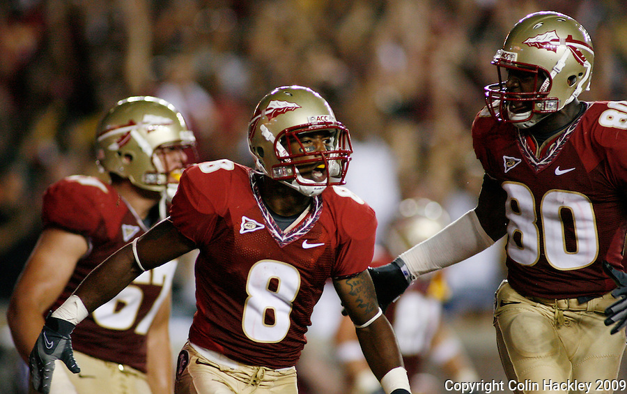 TALLAHASSEE, FL 9/7/09-FSU-MIAMIFB09 CH27-Florida State's Taiwan Easterling celebrates during  second hald action against Miami, Monday at Doak Campbell Stadium in Tallahassee. The Seminoles lost to the Hurricanes 38-34...COLIN HACKLEY PHOTO