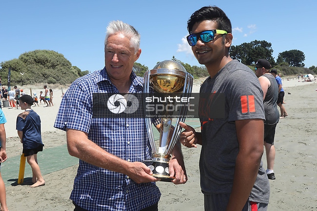 Gavin Larsen during the ICC Cricket World Cup 2019 Trophy Tour at Tahunanui Beach Nelson on Monday the 7th January 2019. Copyright Photo by  / Shuttersport