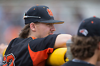 Austin Beck (23) of the North Davidson Knights during the game against the Alexander Central Cougars at Bob Gryder Stadium on March 25, 2017 in Taylorsville, North Carolina.  The Knights defeated the Cougars 3-0.  (Brian Westerholt/Four Seam Images)