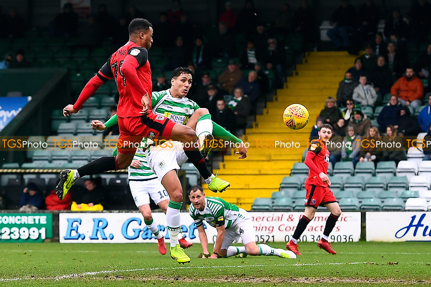 Wes Thomas of Grimsby Town left scores the first goal during Yeovil Town vs Grimsby Town, Sky Bet EFL League 2 Football at Huish Park on 9th February 2019