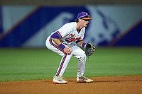 Logan Davidson (8) of the Clemson Tigers on defense against the Duke Blue Devils in Game Three of the 2017 ACC Baseball Championship at Louisville Slugger Field on May 23, 2017 in Louisville, Kentucky. The Blue Devils defeated the Tigers 6-3. (Brian Westerholt/Four Seam Images)