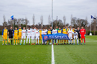Both teams pose for a Pre match team photo during the UEFA Youth League match between Tottenham Hotspur U19 and Apoel Nicosia (APOEL) at Tottenham Hotspur Training Ground, Hotspur Way, England on 6 December 2017. Photo by Andy Rowland.