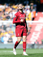 Liverpool's Jordan Henderson reacts<br /> <br /> Photographer Rich Linley/CameraSport<br /> <br /> The Premier League - Liverpool v Wolverhampton Wanderers - Sunday 12th May 2019 - Anfield - Liverpool<br /> <br /> World Copyright © 2019 CameraSport. All rights reserved. 43 Linden Ave. Countesthorpe. Leicester. England. LE8 5PG - Tel: +44 (0) 116 277 4147 - admin@camerasport.com - www.camerasport.com