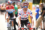Polka Dot Jersey Julian Alaphilippe (FRA) Quick-Step Floors arrives at sign on before the start of Stage 11 of the 2018 Tour de France running 108.5km from Albertville to La Rosiere Espace San Bernardo, France. 18th July 2018. <br /> Picture: ASO/Pauline Ballet | Cyclefile<br /> All photos usage must carry mandatory copyright credit (&copy; Cyclefile | ASO/Pauline Ballet)