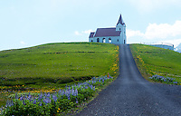 June 2016 - Snaefellsnes Peninsula, West Iceland -  Ingjaldshols Church is the oldest concrete church in Iceland, Snaefellsnes Peninsula, West Iceland.