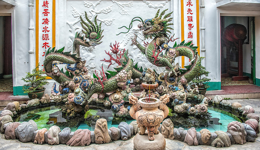 Dragon sculpture located in the garden of the Assembly Hall of the Fujian Chinese Congregation, in Hoi An