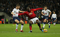 Manchester United's Romelu Lukaku and Tottenham Hotspur's Ben Davies<br /> <br /> Photographer Rob Newell/CameraSport<br /> <br /> The Premier League - Tottenham Hotspur v Manchester United - Sunday 13th January 2019 - Wembley Stadium - London<br /> <br /> World Copyright &copy; 2019 CameraSport. All rights reserved. 43 Linden Ave. Countesthorpe. Leicester. England. LE8 5PG - Tel: +44 (0) 116 277 4147 - admin@camerasport.com - www.camerasport.com