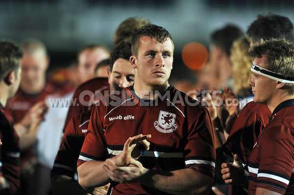 Haydn Johnson of Somerset County looks on after the match. End-of-season friendly match, between Bath United and Somerset County Senior XV on April 20, 2015 at the Recreation Ground in Bath, England. Photo by: Patrick Khachfe / Onside Images