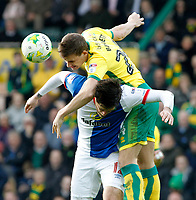 Norwich City's Ryan Bennett battles with Blackburn Rovers' Danny Graham<br /> <br /> Photographer David Shipman/CameraSport<br /> <br /> The EFL Sky Bet Championship - Norwich City v Blackburn Rovers - Saturday 11th March 2017 - Carrow Road - Norwich<br /> <br /> World Copyright &copy; 2017 CameraSport. All rights reserved. 43 Linden Ave. Countesthorpe. Leicester. England. LE8 5PG - Tel: +44 (0) 116 277 4147 - admin@camerasport.com - www.camerasport.com