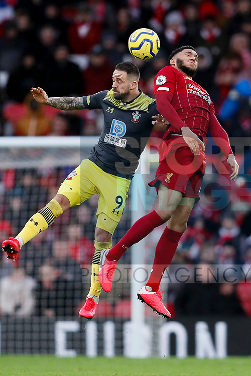 Danny Ings of Southampton and Joe Gomez of Liverpool battle for the ball during the Premier League match at Anfield, Liverpool. Picture date: 1st February 2020. Picture credit should read: James Wilson/Sportimage