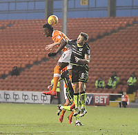 Blackpool's Armand Gnanduillet jumps with  Bristol Rovers' Ollie Clarke<br /> <br /> Photographer Mick Walker/CameraSport<br /> <br /> The EFL Sky Bet League One - Blackpool v Bristol Rovers - Saturday 13th January 2018 - Bloomfield Road - Blackpool<br /> <br /> World Copyright &copy; 2018 CameraSport. All rights reserved. 43 Linden Ave. Countesthorpe. Leicester. England. LE8 5PG - Tel: +44 (0) 116 277 4147 - admin@camerasport.com - www.camerasport.com