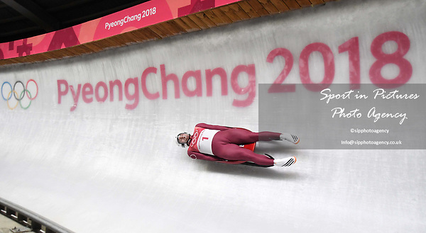 Semen Pavlichenko (OAR). Mens luge. Pyeongchang2018 winter Olympics. Alpensia sliding centre. Alpensia. Gangneung. Republic of Korea. 11/02/2018. ~ MANDATORY CREDIT Garry Bowden/SIPPA - NO UNAUTHORISED USE - +44 7837 394578