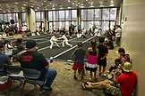 USA, Oahu, Hawaii, young boy Jujitsu Martial Arts fighters grapple at  the ICON grappling tournament in Honolulu