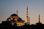 The Suleymaniye Mosque at dusk, Istanbul, Turkey
