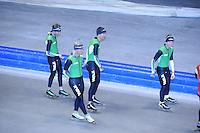 SCHAATSEN: HEERENVEEN: IJsstadion Thialf, 03-06-2013, training merkenteams op zomerijs, Christijn Groeneveld, Koen Verweij, Wouter olde Heuvel, Douwe de Vries, ©foto Martin de Jong